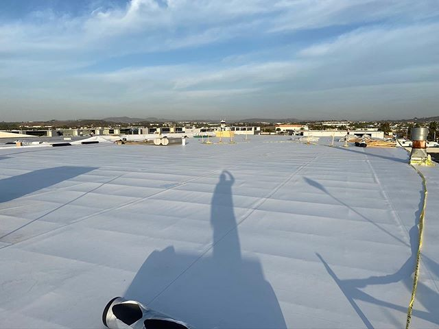 new commercial TPO roofing installed