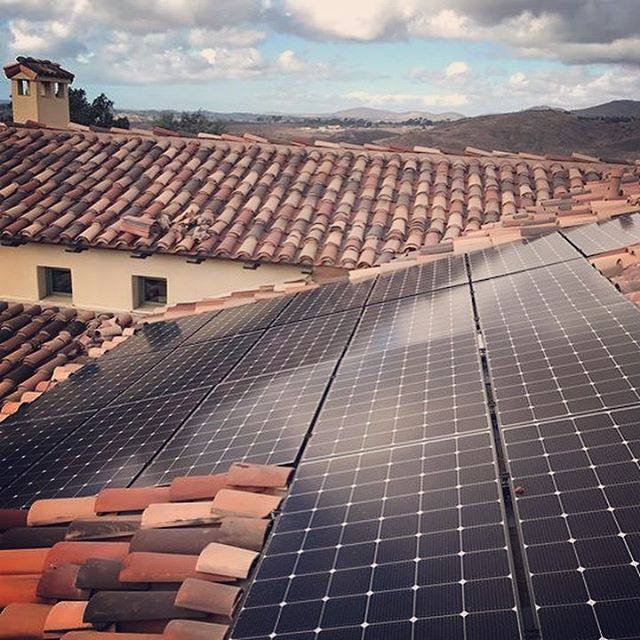 spanish tile roof with solar panels