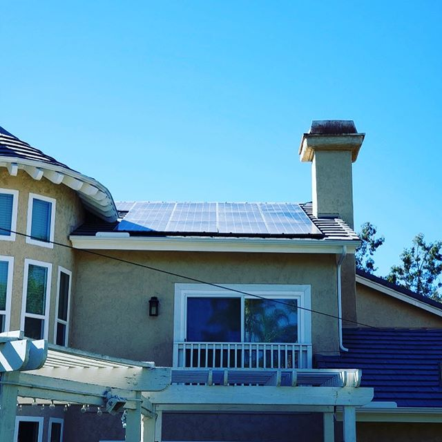residential building with solar panels