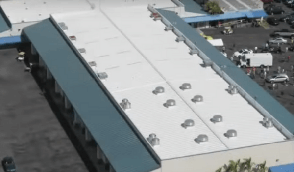 top view of commercial building with TPO roof