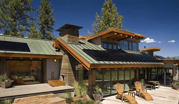 home with standing seam metal roofing