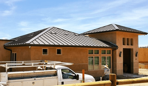 company building with brown metal roofing