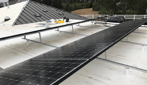 solar panels on commercial metal roof