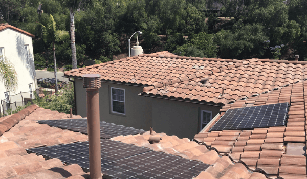 solar panels integrated in residential tile roof